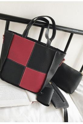 Simple Color Block PU Bag Set