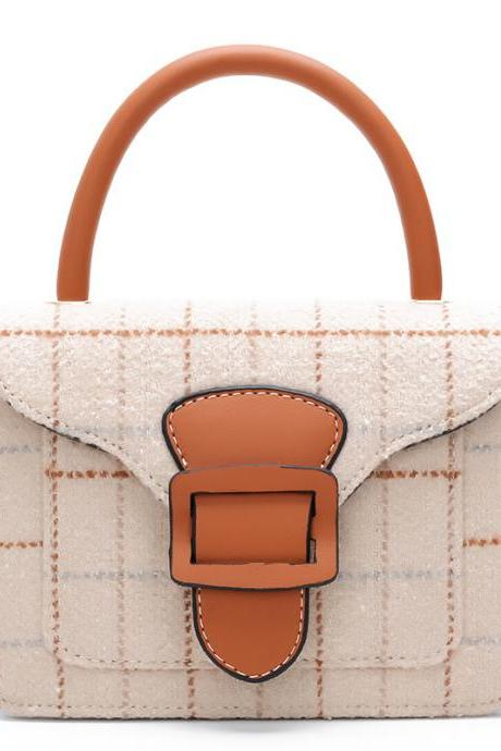 Ladylike Plaid PU Satchel Handbag