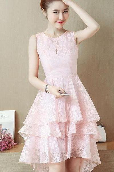 Lace Irregular Pure Color Sleeveless Short Party Dress