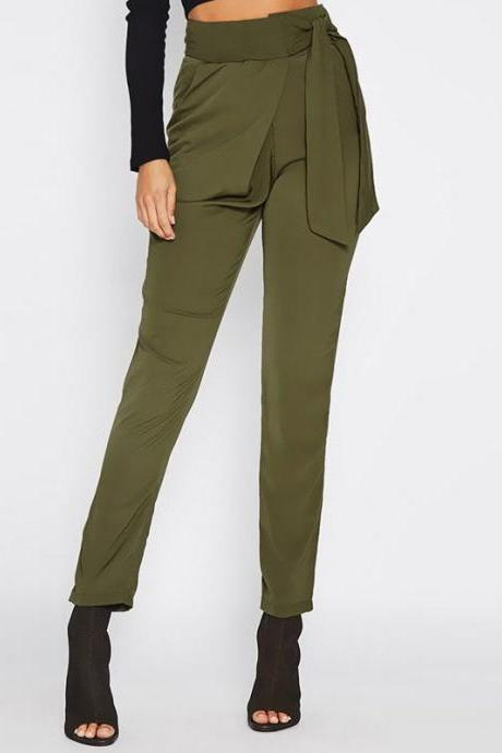 Strap Bowknot High Waist Slim Pencil Long Pants