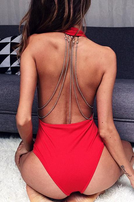 Halter Backless Chain V-neck Lastic Short Jumpsuits