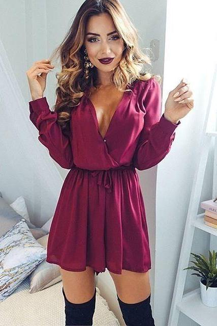 Loose Long Sleeves V-neck High Waist Short Jumpsuits