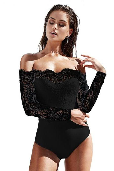 Lace Patchwork Off Shoulder Short Jumpsuits