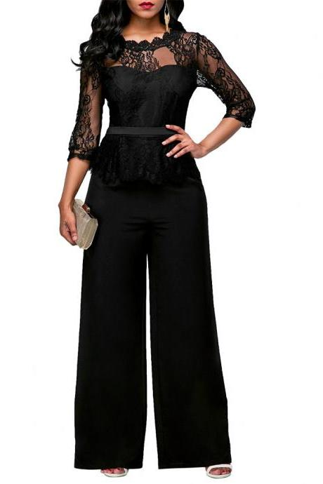 Transparent Lace 3/4 Sleeves High Waist Long Wide Leg Jumpsuits