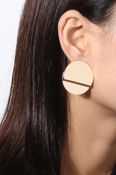 Geometrical Element Mirror Round Stud Earrings