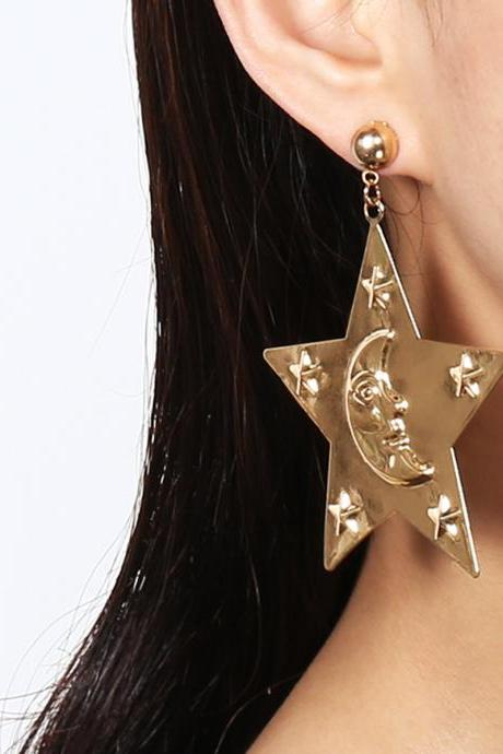 Metallic Five-pointed Star Pendant Earrings