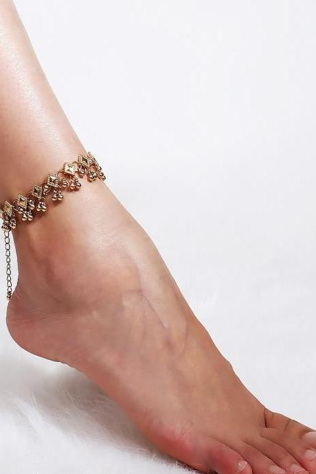 Retro Droplets Tassel Beach Ankle Chain