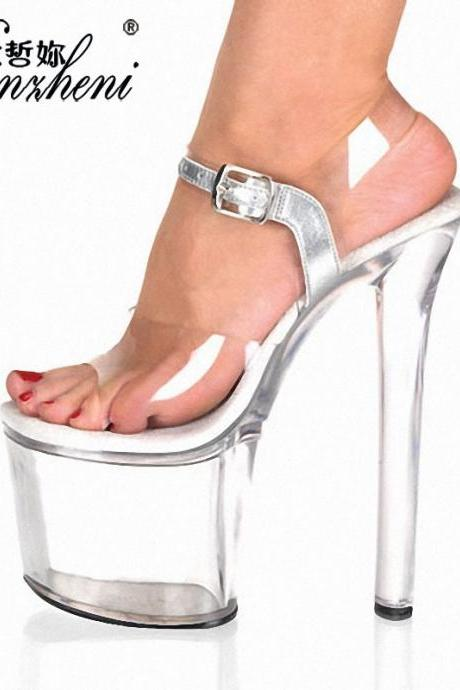 PVC Transparent Platform Super HIgh Stiletto Heel Sandals