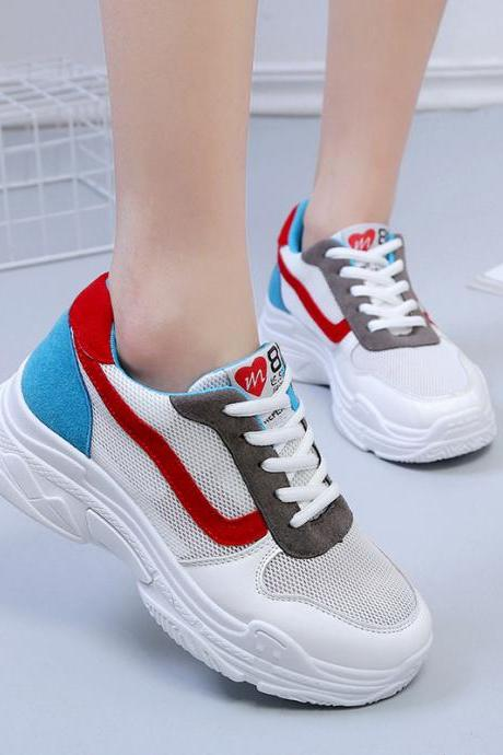 Color Patchwork Round Toe Platform Casual Sneaker