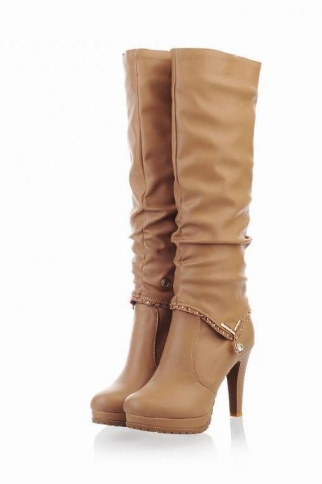 PU Stiletto Heel Platform Round Toe Knee-length Boots
