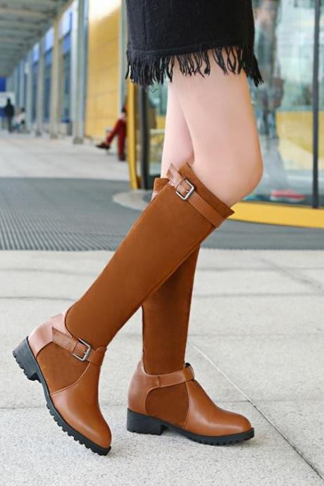 Scrub Chunky Heel Patchwork Round Toe Knee-length Boots