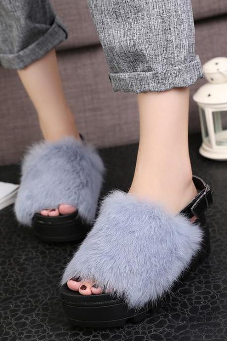 Faux Fur Decoration Open Toe Platform Sandals