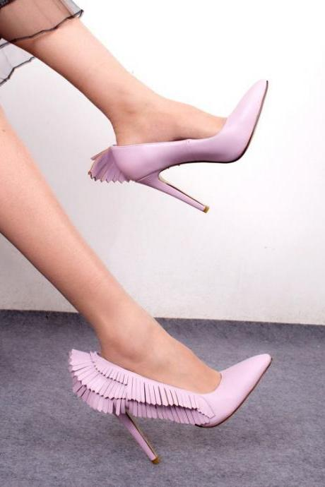 PU Stiletto Heel Pionted Angel Wings High Heels Party Shoes