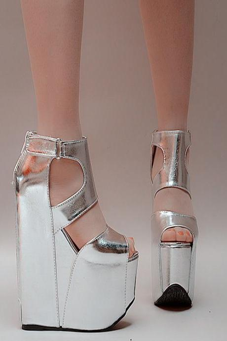 Zipper PU Peep-toe Super High Heel Wedge Sandals