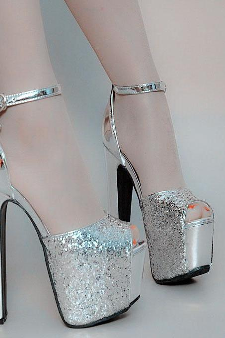 Shinning Peep Toe Ankle Wrap Platform Super High Heels Sandals
