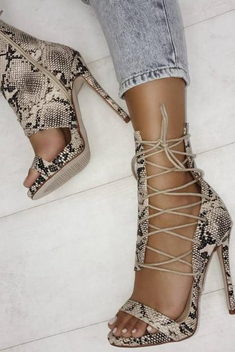Fashion Lace Up Hollow Out Open Toe Stiletto High Heels Sandals