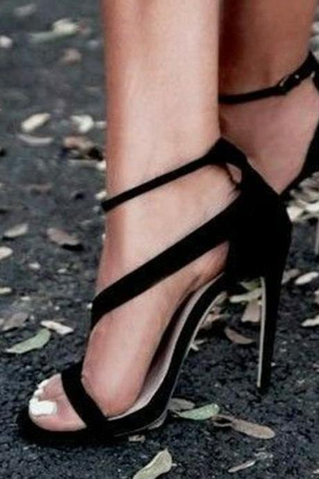 Simple Style Stiletto Heel Zipper PU Open-toe High Heel Sandals