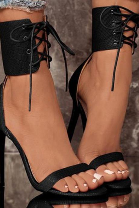 Zipper Ankle Band Wrap Open-toe Stiletto High Heels Sandals