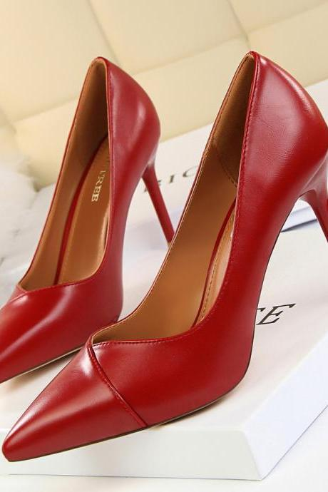 Red Faux Leather Pointed-Toe High Heel Stilettos