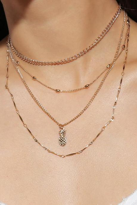 Multi-layer Copper Bead Pineapple Clavicle Necklace