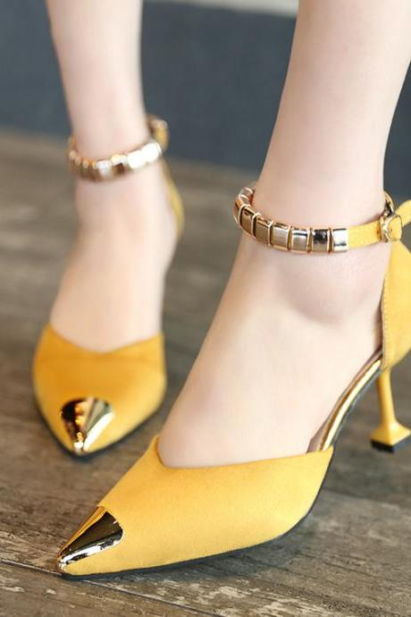 Pointed Toe Low Cut Ankle Wrap Kitten Middle High Heels