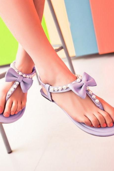 Thong Bowknot Beads Ankle Wrap Flat Sandals