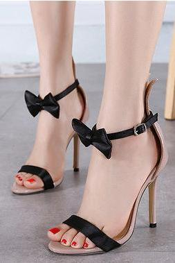 Ankle Bowknot Wrap Open Toe Rabbit Ears Stiletto High Heel Sandals