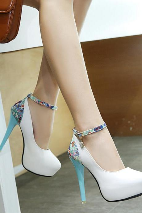 Print PU Round Toe Stiletto Heel Ankle Strap High Heels
