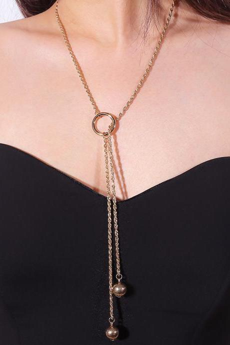Fashion Pearl Pendant With Long Tassel Necklace