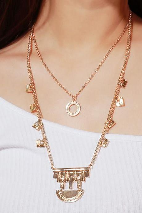 National Wind Alloy Hollow Multilayer Necklace