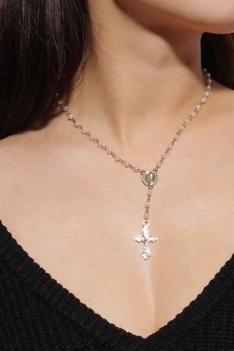 Retro National Style Pearl Cross Necklace