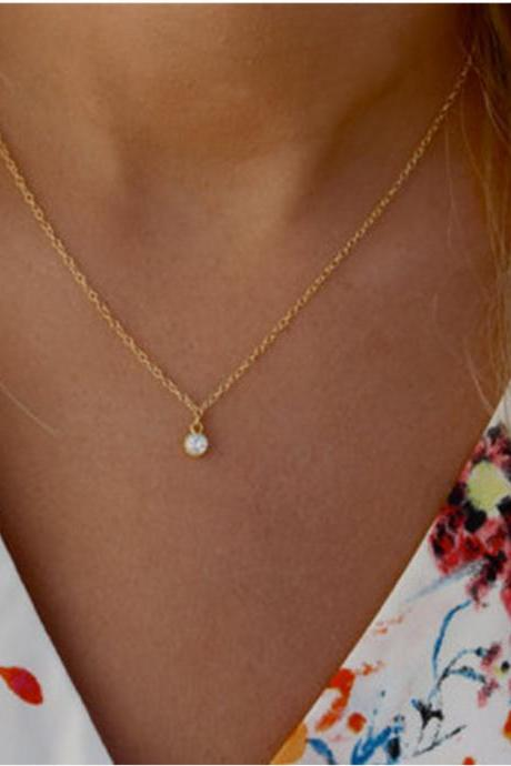 Simple Crystal Diamond Short Necklace
