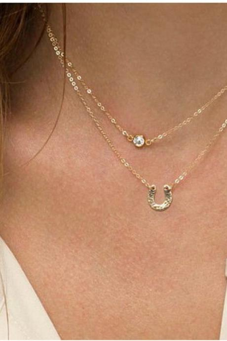 Gold Crystal and Horse Shoe Double Layered Necklace