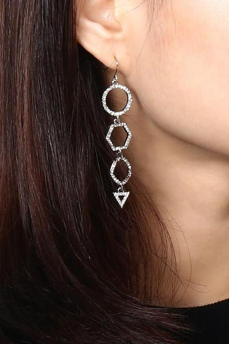Fashion Micro-diamond Triangulation Pendant Earrings