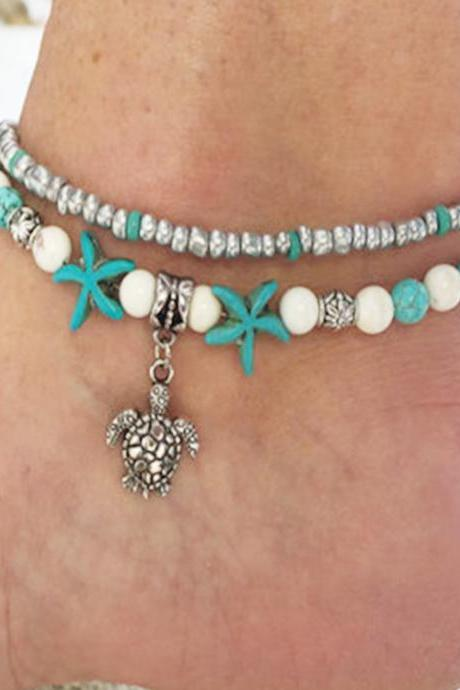 Popular Sea Star Turtle Loose Stone Anklets