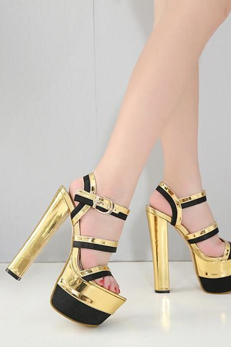 Patchwork Straps Open Toe Platform Super High Heel Sandals