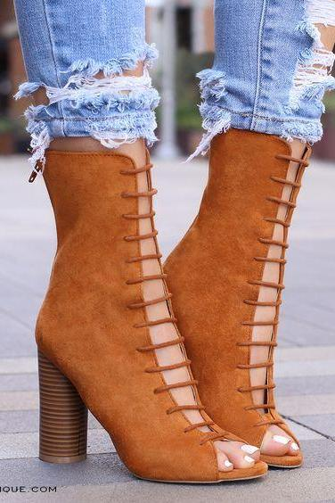 Straps Hollow Out Back Zipper High Chunky Heel Ankle Boot Sandals