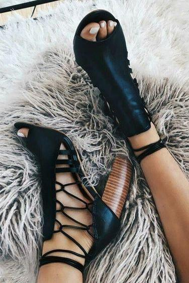Lace Up Peep Toe Straps High Chunky Heel Sandals