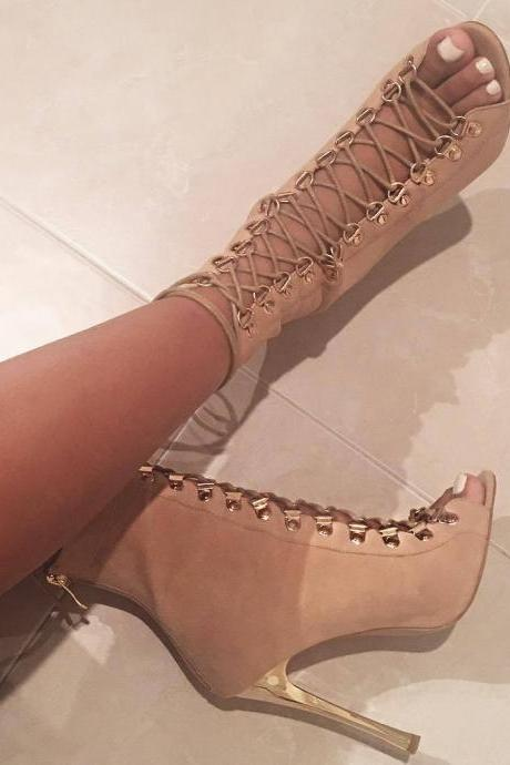 Straps Lace Up Peep-toe Zipper Stiletto High Heel Ankle Boot Sandals
