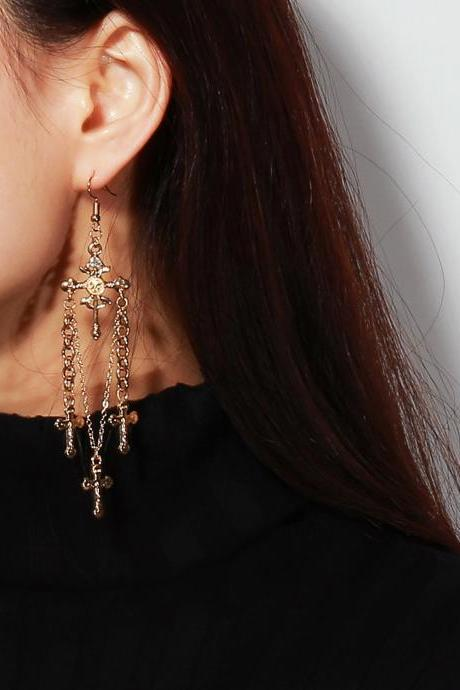 Retro Hyperbolic Alloy With Diamond Cross Pendant Earrings