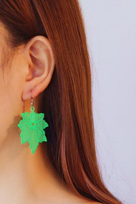 Computer Candy Maple Leaf Earrings