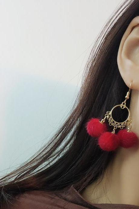 Fashion Temperament Long Fringe Hair Ball Earrings