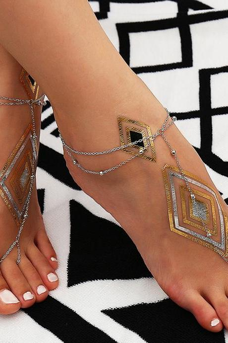 Copper Beads Multilayer With Beach Anklets