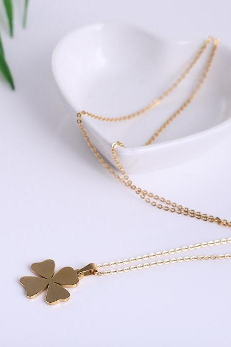 Fashion Stainless Steel Four-leaf Clover Necklace