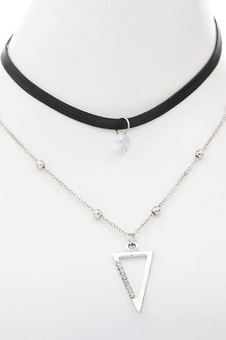Triangle Pendant Leather Strap Alloy Clavicular Necklace