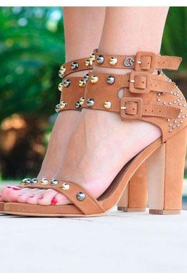 Rivets Hasp Open Toe Ankle Straps High Chunky Heel Sandals