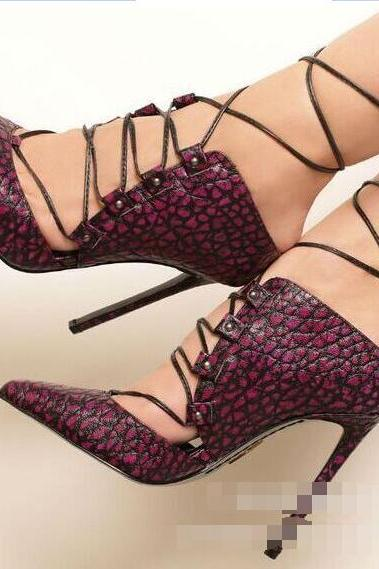 Pointed Tow Low Cut Lace Up Stiletto High Heels