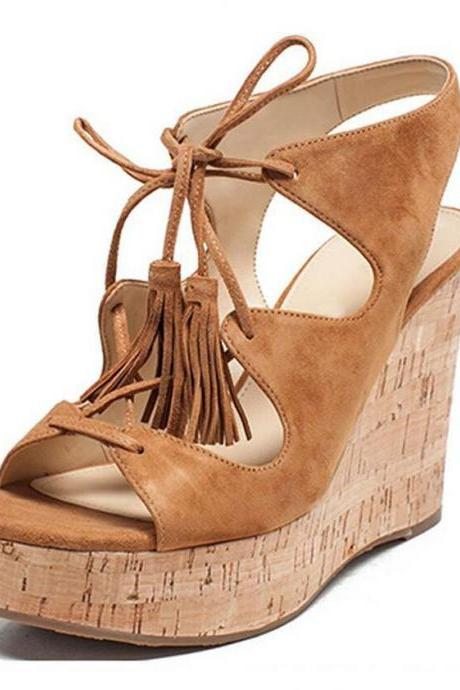 Tassels Suede Lace-up Open Toe Platform Wedge Sandals