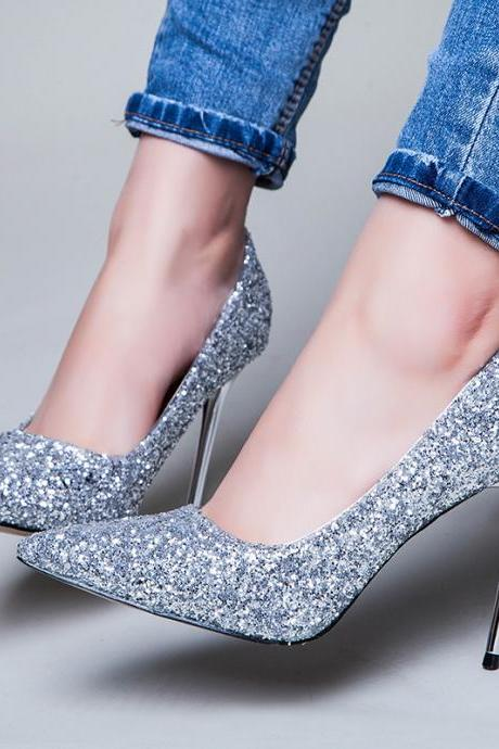 Glitter Pointed-Toe High Heel Stilettos, Party Heels