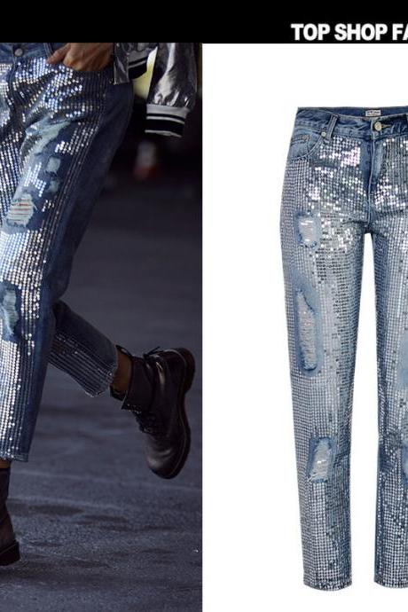 Sequins Bagger Holes Loose Denim 9/10 Long Jeans Pants
